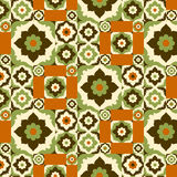Seamless pattern retro ceramic tile design with floral ornate. Royalty Free Stock Photos