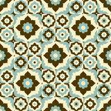 Seamless pattern retro ceramic tile design with floral ornate. Royalty Free Stock Images