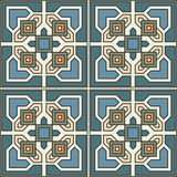 Seamless pattern retro ceramic tile design with floral ornate Stock Photo