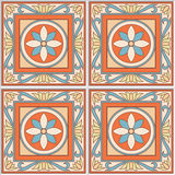 Seamless pattern retro ceramic tile design with floral ornate. Endless texture. Stock Photos