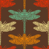 Seamless pattern in retro colors with ornate dragonfly. Stock Images