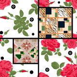 Seamless pattern with retro floral elements background Stock Photo