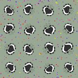 Seamless pattern with retro folklore cartoon hearts Royalty Free Stock Image