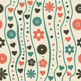 Seamless pattern with retro funky doodle flowers Stock Images