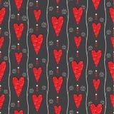 Seamless pattern with retro hearts Stock Photos