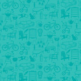 Seamless pattern of Retro Home Icons Stock Photos