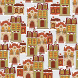 Seamless pattern with retro houses . Royalty Free Stock Image
