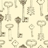Seamless pattern with retro keys Royalty Free Stock Image
