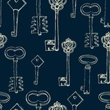 Seamless pattern with retro keys Stock Image