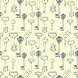Seamless pattern with retro keys Stock Photo