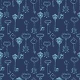 Seamless pattern with retro keys Stock Images