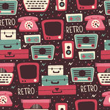 Seamless Pattern with Retro Media Elements. Stock Photography