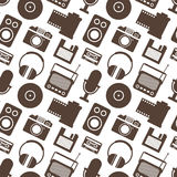 Seamless Pattern with Retro Media technology Royalty Free Stock Photography