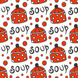 Seamless pattern with retro pots. Vector background for kitchen red circle ornament Royalty Free Stock Photography