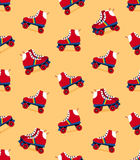 Seamless pattern of retro rollerskate shoes Royalty Free Stock Images