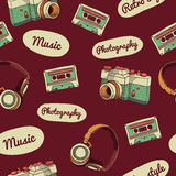 Seamless pattern in retro style. Camera, audio Stock Image