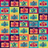 Seamless pattern in retro style with cameras Royalty Free Stock Photography