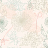 Seamless pattern in retro style with flowers Stock Image