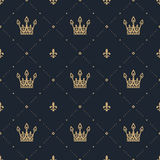 Seamless pattern in retro style with a gold crown on a blue background.. Can be used for wallpaper, pattern fills, web page background,surface textures. Vector Royalty Free Stock Photo