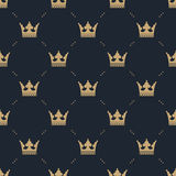 Seamless pattern in retro style with a gold crown on a blue background. Can be used for wallpaper, pattern fills, web Stock Photos