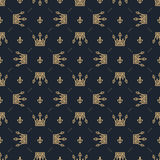 Seamless pattern in retro style with a gold crown on a blue background. Can be used for wallpaper, pattern fills, web Royalty Free Stock Image