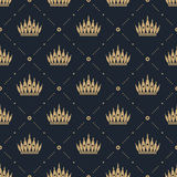 Seamless pattern in retro style with a gold crown on a blue background. Can be used for wallpaper, pattern fills, web page backgro Royalty Free Stock Photos