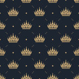 Seamless pattern in retro style with a gold crown on a blue background. Can be used for wallpaper, pattern fills, web page backgro Royalty Free Stock Images