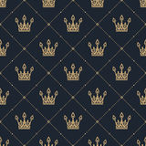 Seamless pattern in retro style with a gold crown on a blue background. Can be used for wallpaper, pattern fills, web page backgro Royalty Free Stock Photography