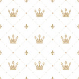 Seamless pattern in retro style with a gold crown on a white background. Can be used for wallpaper, pattern fills, web Stock Image
