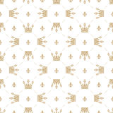 Seamless pattern in retro style with a gold crown on a white background. Can be used for wallpaper, pattern fills, web page backgr Stock Images