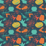 Seamless pattern in retro style Halloween. Vector eps 10 royalty free illustration