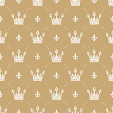Seamless pattern in retro style with a white crown on a gold background. Can be used for wallpaper, pattern fills, web Royalty Free Stock Photo