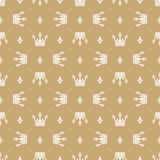 Seamless pattern in retro style with a white crown on a gold background. Can be used for wallpaper, pattern fills, web page backgr Stock Photography