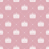 Seamless pattern in retro style with a white crown on a pink background Stock Photos