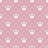 Seamless pattern in retro style with a white crown on a pink background. Can be used for wallpaper, pattern fills, web page backgr Royalty Free Stock Photography