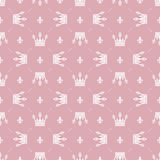 Seamless pattern in retro style with a white crown on a pink background. Can be used for wallpaper, pattern fills, web page backgr Stock Photo