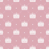 Seamless pattern in retro style with a white crown on a pink background. Can be used for wallpaper, pattern fills, web page backgr Stock Image