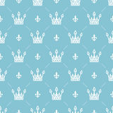 Seamless pattern in retro style with a white crown on a turquoise background. Can be used for wallpaper, pattern fills Royalty Free Stock Photo