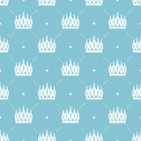 Seamless pattern in retro style with a white crown on a turquoise background. Can be used for wallpaper, pattern fills, web page b Stock Images