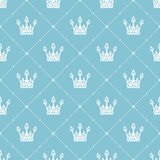 Seamless pattern in retro style with a white crown on a turquoise background. Can be used for wallpaper, pattern fills, web page b Royalty Free Stock Image