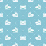 Seamless pattern in retro style with a white crown on a turquoise background. Can be used for wallpaper, pattern fills, web page b Stock Image