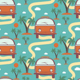 Seamless pattern of retro with surfboard in beach with palms Royalty Free Stock Photography