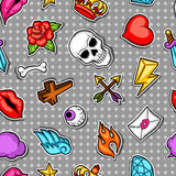 Seamless pattern with retro tattoo symbols. Cartoon old school illustration.  Royalty Free Stock Photos