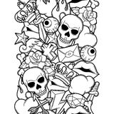 Seamless pattern with retro tattoo symbols. Cartoon old school illustration.  Royalty Free Stock Image