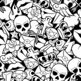 Seamless pattern with retro tattoo symbols. Cartoon old school illustration.  Royalty Free Stock Images