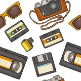 Seamless pattern retro technology object. Vintage vector color engraving illustration. Seamless pattern retro technology object. Floppy disk, photo film in Royalty Free Stock Photo