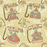Seamless pattern with retro telephone Royalty Free Stock Photography