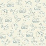 Seamless pattern with retro toys Royalty Free Stock Photos
