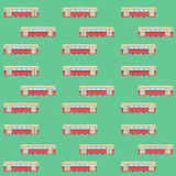 Seamless pattern with retro tram Stock Photo