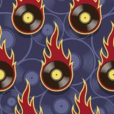 Seamless vector pattern with retro vintage vinyl record icons an. Seamless pattern with retro vintage vinyl record icons and flames. Vector illustration. Ideal Stock Images